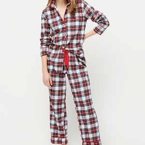 J. Crew Flannel pajama set in white-out plaid NWT